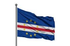 Vlag van de Eilanden die van Kaapverdië in de wind, geïsoleerde witte achtergrond golven Kaapverdische vlag royalty-vrije stock afbeeldingen