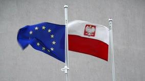 Vlag van de EU en Polen Royalty-vrije Stock Afbeeldingen