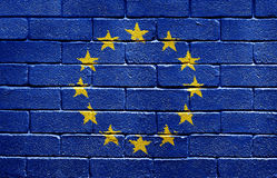 Vlag van de Europese Unie op bakstenen muur Royalty-vrije Stock Afbeeldingen