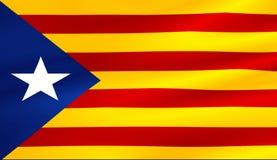 Vlag van de gele en rode strook van Catalonië met ster het golven textuur stock fotografie