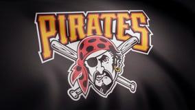 Vlag van de Honkbalpittsburgh pirates, het Amerikaanse professionele embleem van het honkbalteam, naadloze lijn Redactieanimatie royalty-vrije stock afbeeldingen
