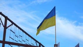 Vlag van de Oekraïne tegen de blauwe hemel stock video