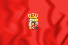 Vlag van de Provincie van Ciudad Real, Spanje 3D Illustratie vector illustratie