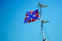 Vlag van de Russische Vloot die op de mast fladderen royalty-vrije stock foto