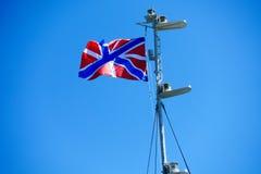 Vlag van de Russische Vloot die op de mast fladderen royalty-vrije stock fotografie
