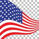 Vlag van de V Amerikaans symbool De vlagpictogram van de V.S. Illustratie voor Onafhankelijkheid Dag 4 Juli vector illustratie