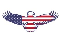 Vlag van de V.S. met een adelaar vector illustratie
