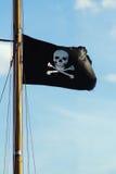 Vlag van een schedel en de gekruiste knekels van de Piraat. Royalty-vrije Stock Foto