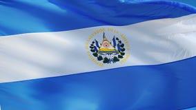 Vlag van El Salvador in langzame motie voorzag foutloos met alpha- van een lus stock video
