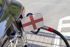 Vlag van Engeland op de de vullerklep van de auto` s brandstof royalty-vrije stock afbeeldingen