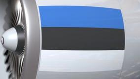 Vlag van Estland op de motor van de vliegtuigturbine De luchtvaart bracht 3D animatie met elkaar in verband royalty-vrije illustratie