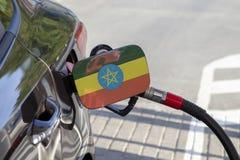 Vlag van Ethiopië op de de vullerklep van de auto` s brandstof royalty-vrije stock foto's
