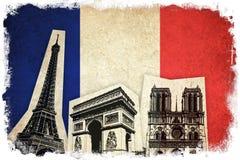 Vlag van Frankrijk met monument: De Toren van Eiffel royalty-vrije illustratie