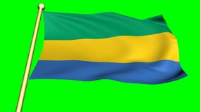 Vlag van Gabon, Afrika stock video