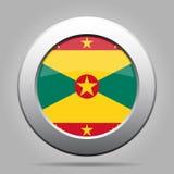 Vlag van Grenada Glanzende metaal grijze ronde knoop Stock Afbeeldingen