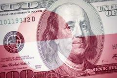 Vlag van Groenland op een Amerikaanse achtergrond van het dollargeld stock afbeeldingen