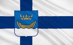 Vlag van Helsinki, Finland stock illustratie