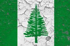 Vlag van het Eiland van Norfolk die op gebarsten vuile muur wordt geschilderd Nationaal patroon op uitstekende stijloppervlakte vector illustratie