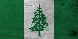 Vlag van het Eiland van Norfolk op houten plaatachtergrond De vlagtextuur van Grungenorfolk stock foto's