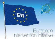 Vlag van het Europese Interventieinitiatief, militaire alliantie vector illustratie