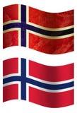 Vlag van het land van Noorwegen 3D, twee stijlen vector illustratie