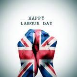 Vlag van het Verenigd Koninkrijk en de dag van de tekst gelukkige arbeid stock fotografie