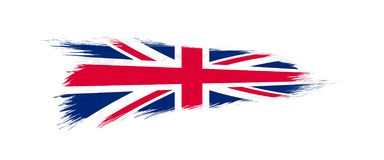 Vlag van het Verenigd Koninkrijk in grungekwaststreek royalty-vrije illustratie