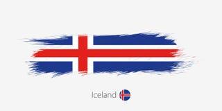Vlag van IJsland, grunge abstracte kwaststreek op grijze achtergrond royalty-vrije illustratie