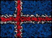 Vlag van IJsland - het het branden gesmeerde ontwerp van de kleurenvlag stock illustratie