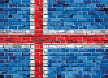 Vlag van IJsland op een bakstenen muur Stock Afbeelding