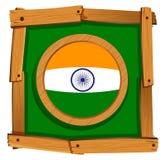 Vlag van India in houten kader Stock Fotografie