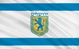 Vlag van Jeruzalem, Israël vector illustratie