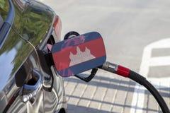 Vlag van Kambodja op de de vullerklep van de auto` s brandstof royalty-vrije stock fotografie