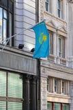 Vlag van Kazachstan Stock Afbeeldingen
