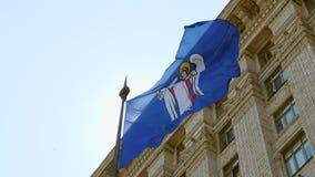 Vlag van Kyiv de hoofdstad van de Oekraïne stock videobeelden