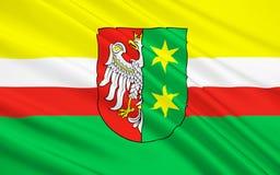 Vlag van Lubusz Voivodeship in westelijk Polen stock fotografie