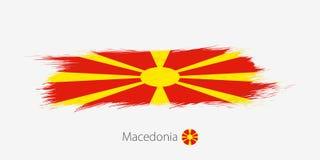 Vlag van Macedonië, grunge abstracte kwaststreek op grijze achtergrond stock illustratie
