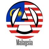 Vlag van Maleisië van de wereld in de vorm van een teken van anarchie royalty-vrije illustratie