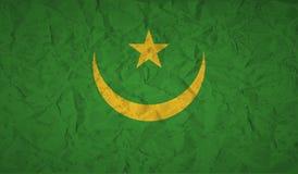 Vlag van Mauretanië met het effect van verfrommeld document en grunge royalty-vrije illustratie