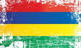 Vlag van Mauritius, gebied overzee van Frankrijk Gerimpelde vuile vlekken stock afbeelding