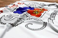 Vlag van Mayotte op een houten bureauachtergrond De hoogste mening van de zijdevlag royalty-vrije stock foto