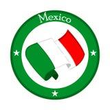 Vlag van Mexico op een etiket vector illustratie