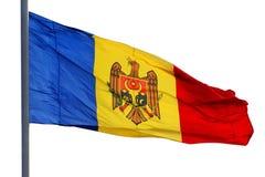 Vlag van Moldavië, op wit wordt geïsoleerd dat royalty-vrije stock fotografie
