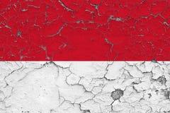 Vlag van Monaco die op gebarsten vuile muur wordt geschilderd Nationaal patroon op uitstekende stijloppervlakte vector illustratie