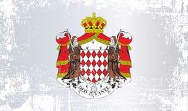 Vlag van Monaco, Prinsdom van Monaco Gerimpelde vuile vlekken royalty-vrije stock foto
