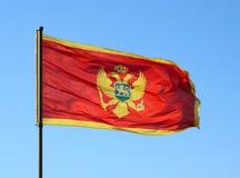 Vlag van Montenegro op een blauwe hemel Stock Afbeeldingen