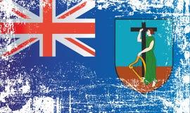 Vlag van Montserrat, Britse Gebieden overzee Gerimpelde vuile vlekken stock afbeelding