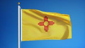 Vlag van New Mexico in langzame motie voorzag foutloos met alpha- van een lus stock footage