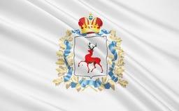 Vlag van Nizhny Novgorod Oblast, Russische Federatie Stock Illustratie