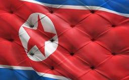 Vlag van Noord-Korea op capitone royalty-vrije stock afbeeldingen